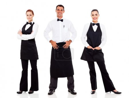 Photo for Group of waiter and waitress full length portrait on white - Royalty Free Image