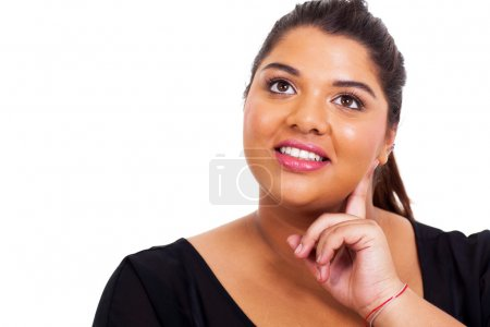 overweight woman daydreaming