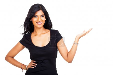 smiling indian businesswoman presenting