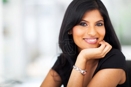 Close up portrait of indian smiling businesswoman ...