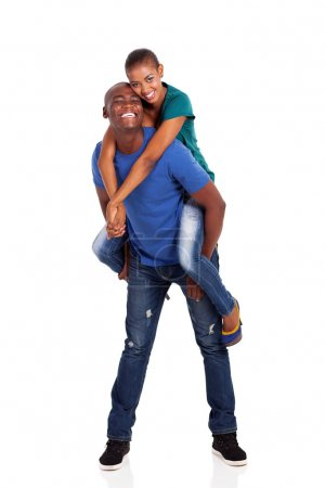playful young afro american couple
