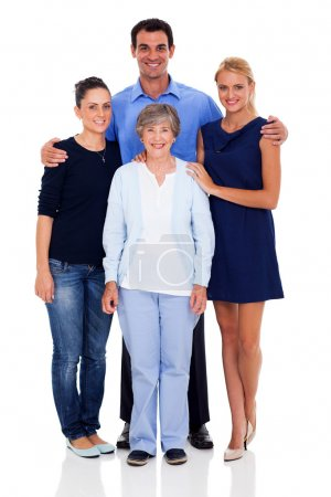 Senior mother and her adult children