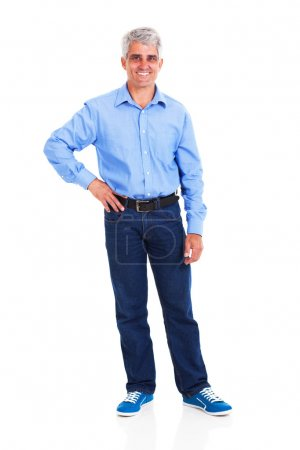 Happy middle aged man with hand on hip