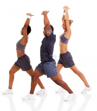 three stretching before exercising