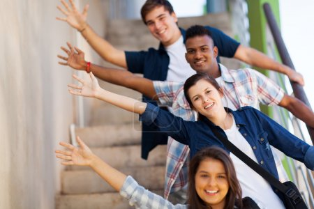 Photo for Playful group of cheerful teenage high school students - Royalty Free Image