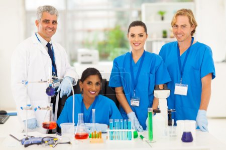 group of medical lab technicians