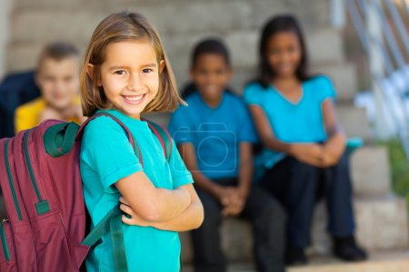 Photo for Portrait of pretty preschool girl with backpack outdoors - Royalty Free Image
