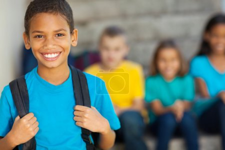 Photo for Cheerful african american primary school boy with backpack - Royalty Free Image