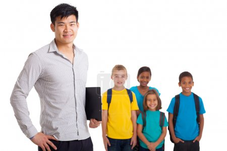 male teacher and young school kids