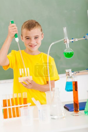 primary schoolboy in science class
