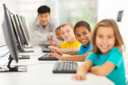 Children in computer class