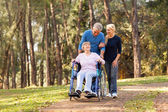 couple taking their disabled senior mother for a walk