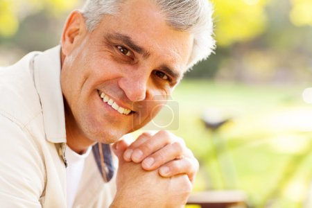 Photo for Closeup portrait of middle aged man outdoors - Royalty Free Image