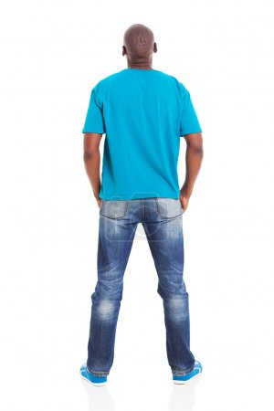 rear view of young african man