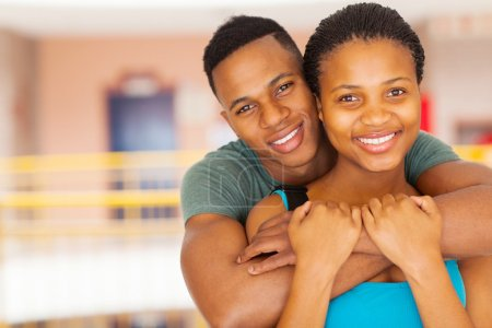 Afro american college couple close up