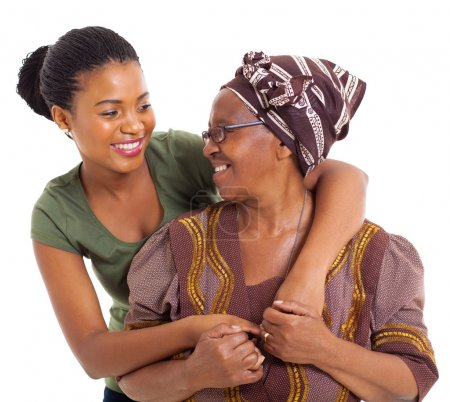 african senior mother and adult daughter