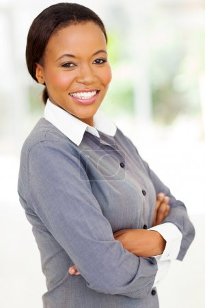 afro american woman with arms folded
