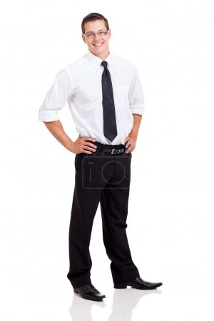 business man standing on white background