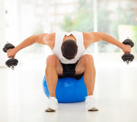 Photo for Fitness man exercising with dumbbells sitting on gym ball - Royalty Free Image