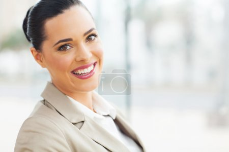 Photo for Close up portrait of young business woman in modern office - Royalty Free Image