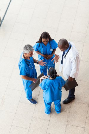 overhead view of medical workers having a meeting