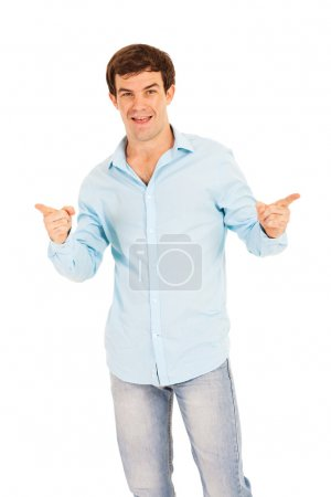 Photo for Cheerful man pointing with both hands on white background - Royalty Free Image