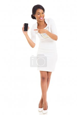 African woman pointing mobile phone