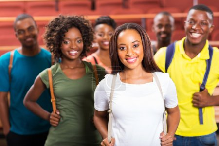 Photo for Close up portrait of african american college students in classroom - Royalty Free Image