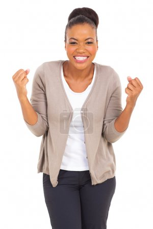 Excited afro american woman