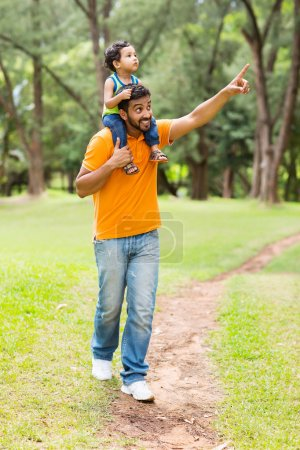 Caring young indian father and son
