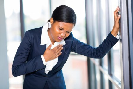 Young african american businesswoman having heart ...