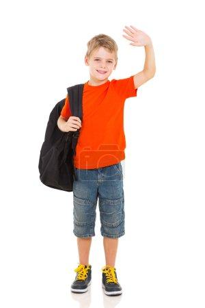 schoolboy waving goodbye