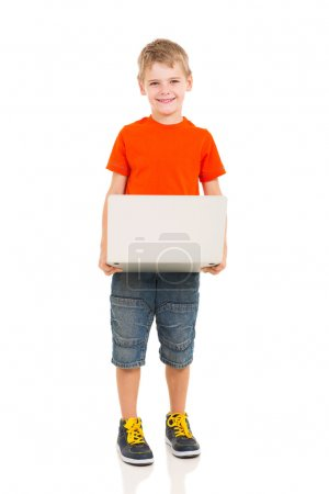 kid holding laptop