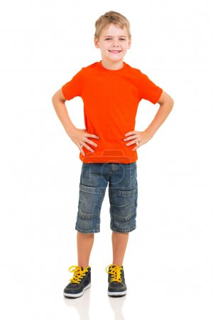 Photo for Full length portrait of cute boy isolated on white background - Royalty Free Image