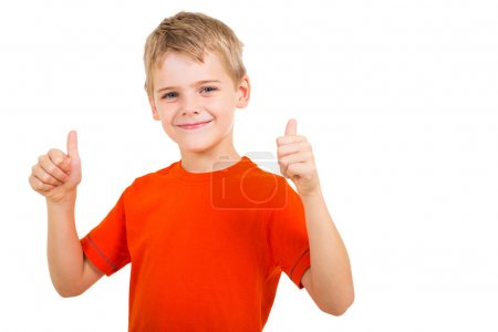 Photo for Young boy showing thumbs up gesture isolated on white background - Royalty Free Image