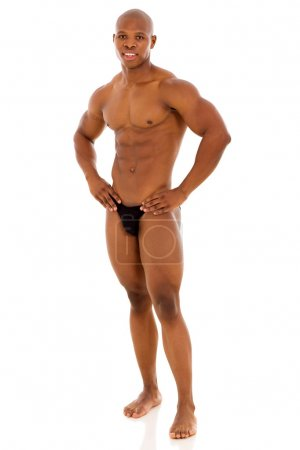 african american muscular man standing on white