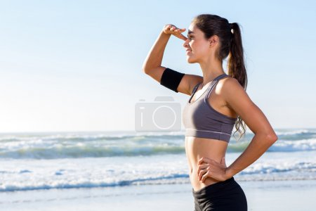healthy woman looking into distance