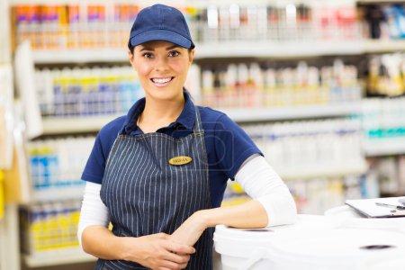 Female hardware store worker