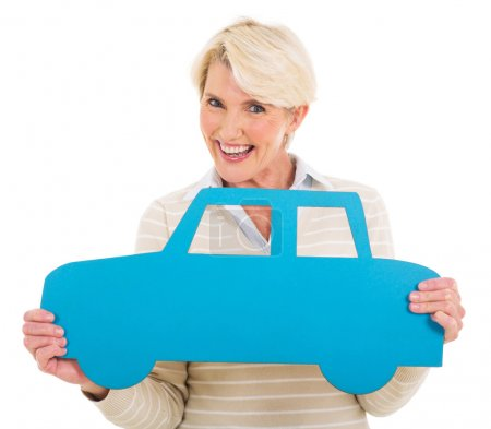 Woman holding a car symbol