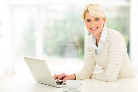 Middle aged woman using computer