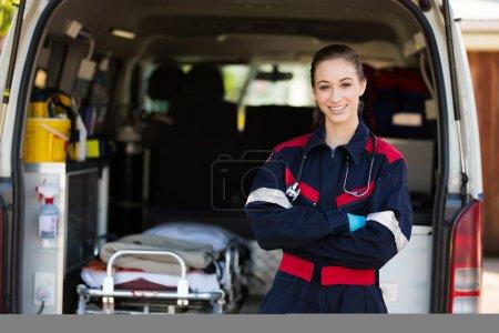 Happy female paramedic