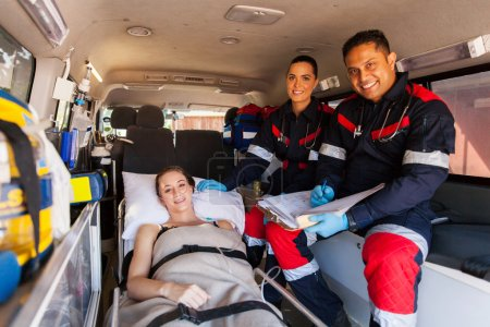 Paramedic team and patient