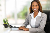 young african american businesswoman using computer