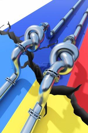 Photo pour Tuyaux de gaz lié à un nœud. concept de crise de l'énergie. - image libre de droit