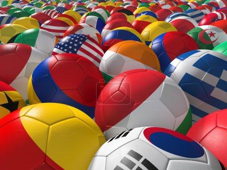 Photo pour Ballons de soccer avec des drapeaux des équipes nationales - image libre de droit