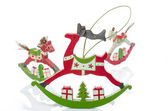 Wooden rocking animal Christmas decorations
