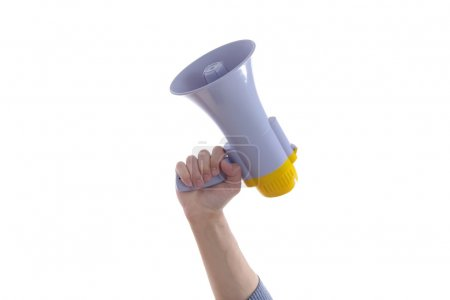 Photo for Male hand holding up a megaphone or loud haler, side view isolated on white - Royalty Free Image