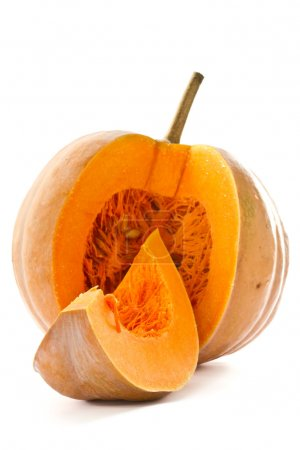 Photo for Cut a piece of ripe pumpkin on a white background - Royalty Free Image