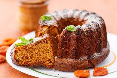 Photo pour Gâteau au miel doux aux abricots secs et à la menthe - image libre de droit
