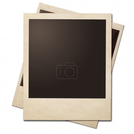 Vintage instant photo frames stack isolated. Clipping path witho